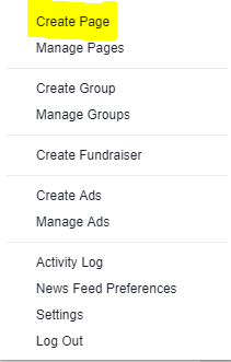 Facebook - Select Create Group from the Dropdown