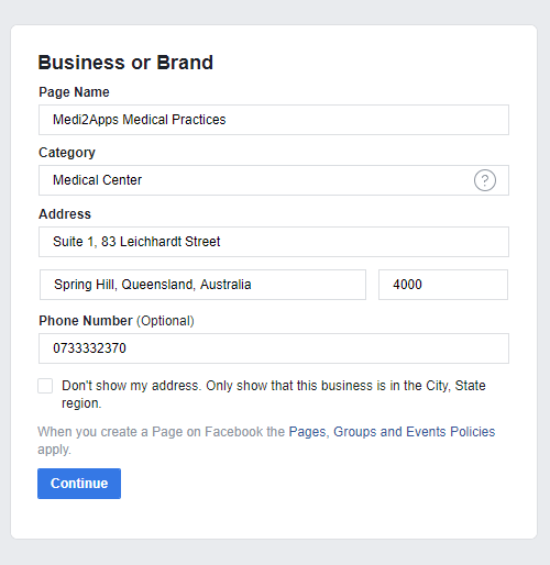 Create Group - Enter Business Details